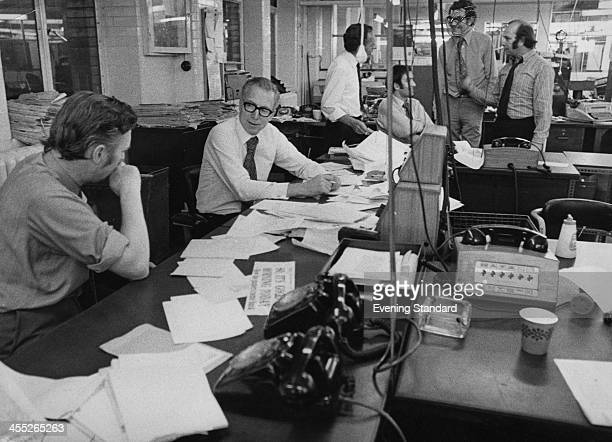 Evening Standard editorial staff working on the night edition in the newsroom London 21st September 1971