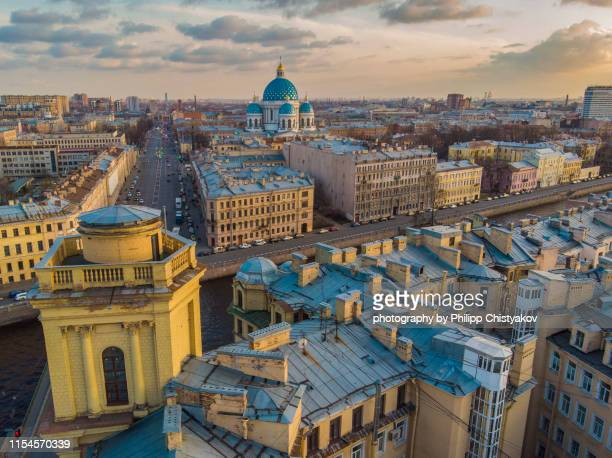 evening st.petersburg city view with  trinity cathedral - サンクトペテルブルク ストックフォトと画像
