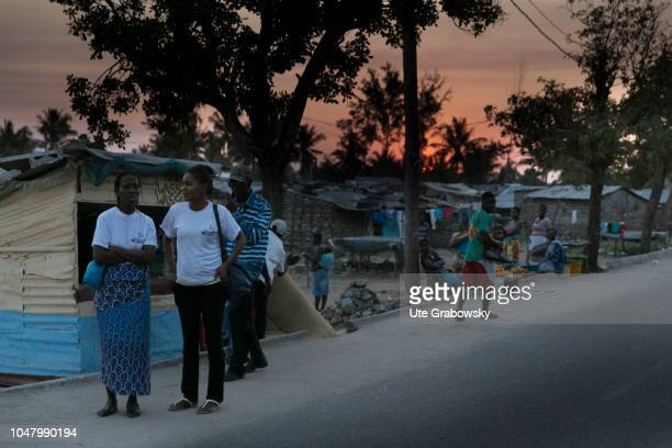 Evening street scene in in an African slum on August 26 2018 in Beira Mozambique