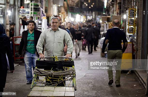 Evening street scene near the central market on October 18 2015 in Tehran Iran