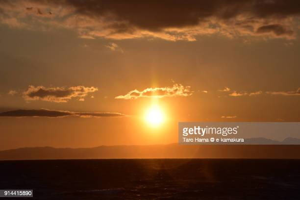 Evening sun and red-colored clouds on Izu Peninsula and Sagami Bay in Kanagawa prefecture in Japan