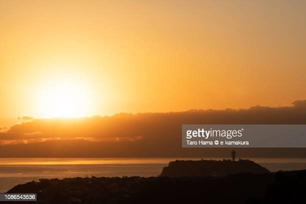 Evening sun on Enoshima Island and Sagami Bay, Northern Pacific Ocean in Japan