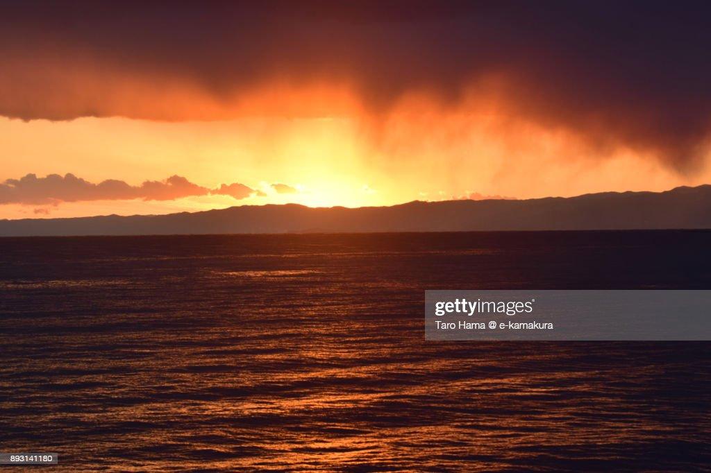 Evening sun on Izu Peninsula and Sagami Bay in Kanagawa prefecture in Japan : Stock-Foto