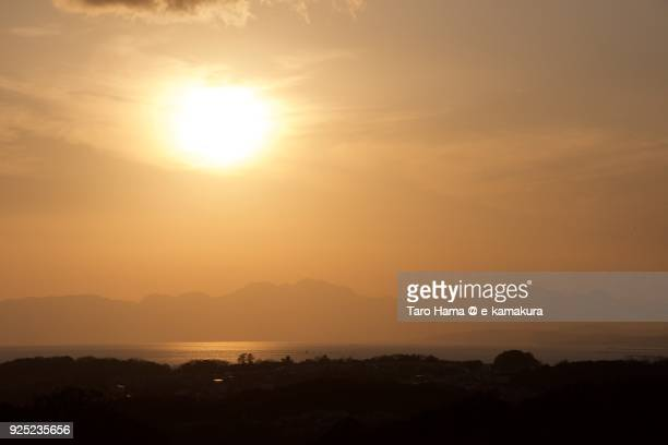 Evening sun on Izu Peninsula and Sagami Bay in Kanagawa prefecture in Japan
