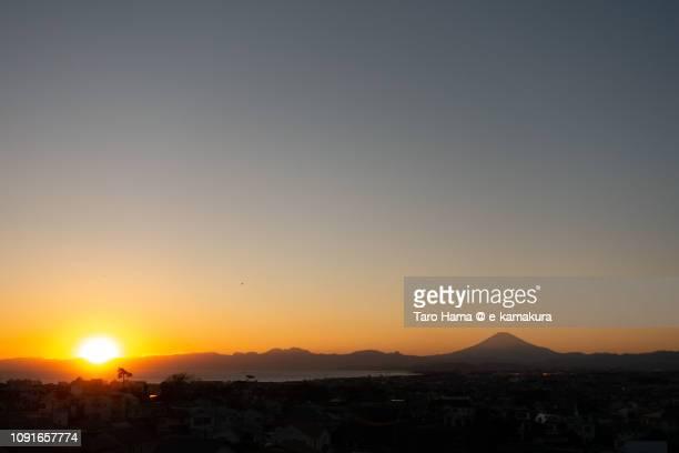 Evening sun on Izu Peninsula and Sagami Bay, Pacific Ocean in Japan