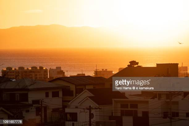 evening sun on izu peninsula and sagami bay, pacific ocean in japan - chigasaki stock pictures, royalty-free photos & images