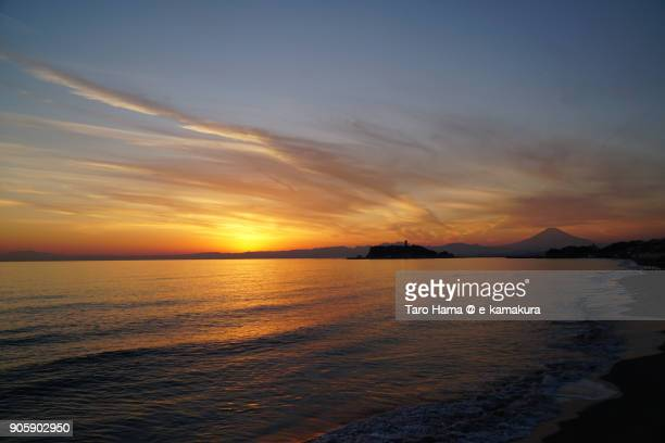 Evening sun on Izu Peninsula, Enoshima Island and Sagami Bay in Kanagawa prefecture in Japan