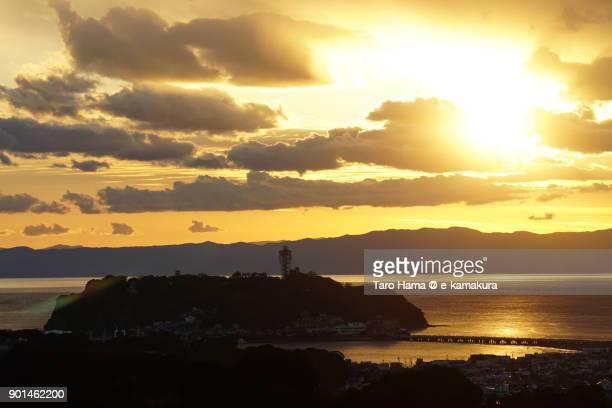 Evening sun on Izu Peninsula, Sagami Bay and Enoshima Island in Fujisawa city in Kanagawa prefecture in Japan