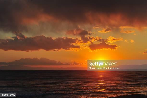 Evening sun on Izu Peninsula, Sagami Bay and Enoshima Island