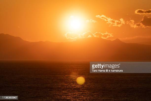 Evening sun on mountains and Pacific Ocean in Japan