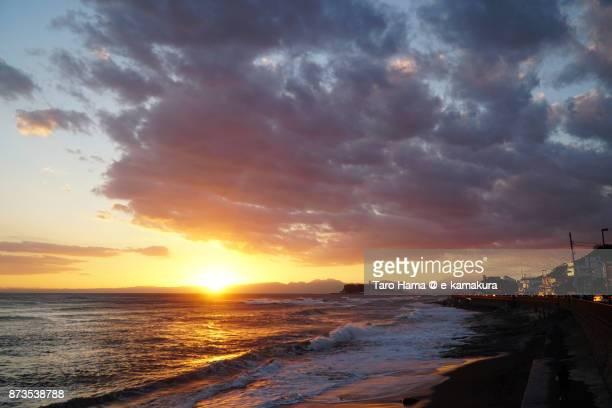 Evening sun on Sagami Bay and Enoshima Island in Kanagawa prefecture in Japan