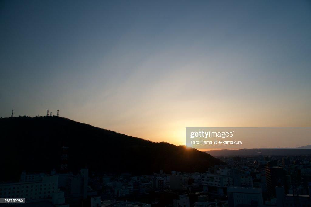 Evening sun on Sanuki Mountains and Mount Bizan in Tokushima city in Tokushima prefecture in Japan : Stock-Foto