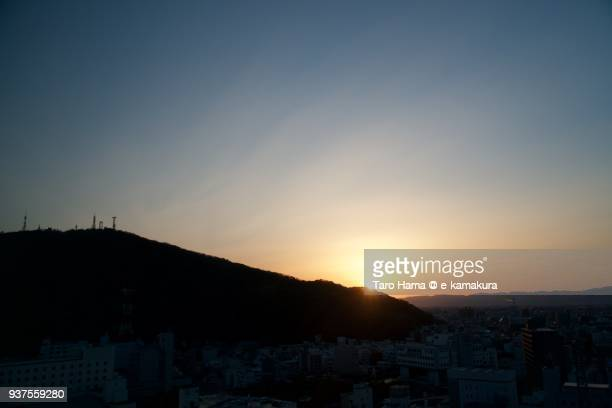 Evening sun on Sanuki Mountains and Mount Bizan in Tokushima city in Tokushima prefecture in Japan