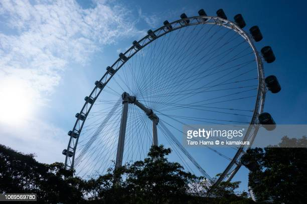 Evening sun on Singapore Flyer in the blue sky
