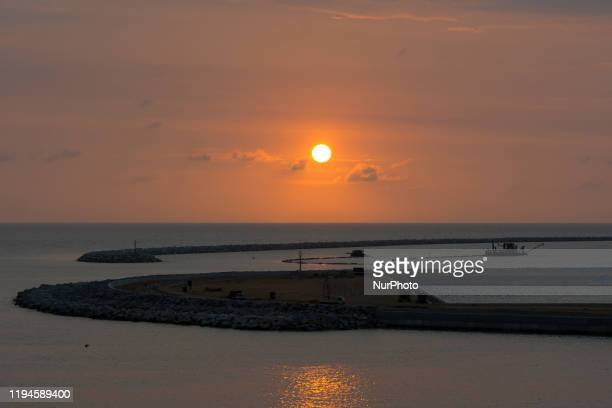 Evening sunset is seen under construction Colombo International Financial City in Colombo, Sri Lanka on Janury 17, 2020. The Finance city is to be...