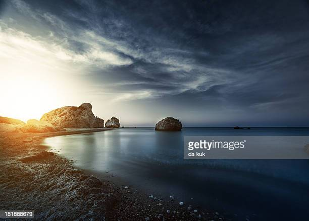 evening sunset on sea - storm stock pictures, royalty-free photos & images