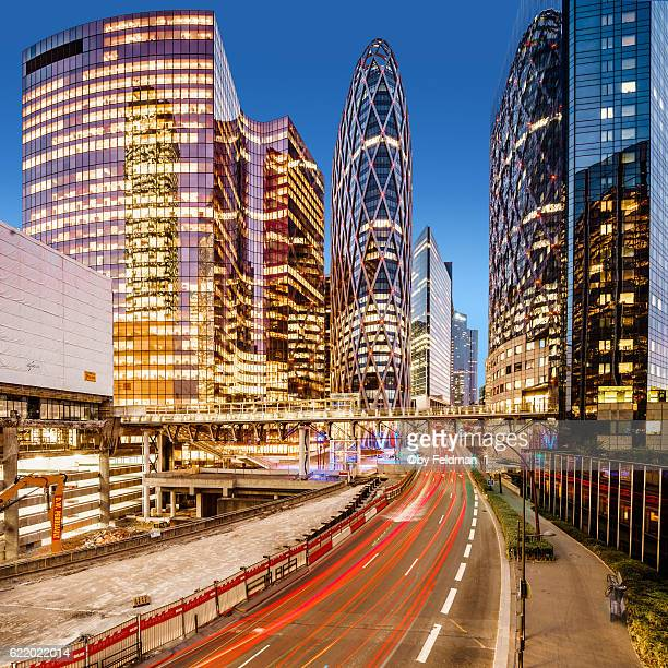 Evening traffic in the business district of La Defense