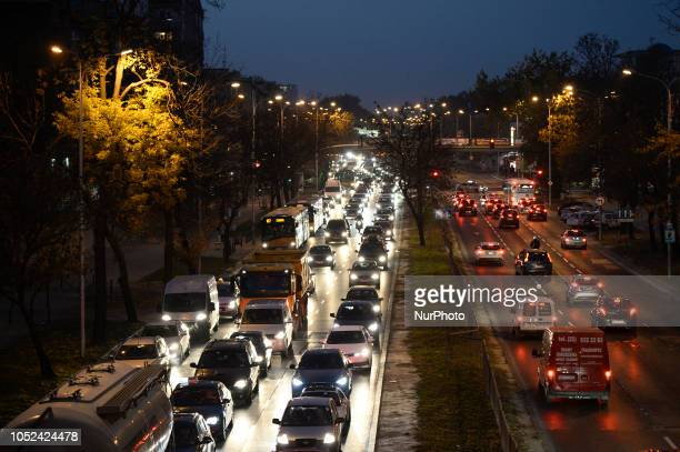 Evening traffic is seen on one of the citys northsouth arteries Czerniakowska street in Warsaw Poland on October 17 2018