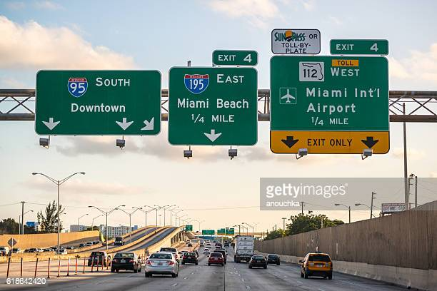 Evening traffic on highway, Miami, USA