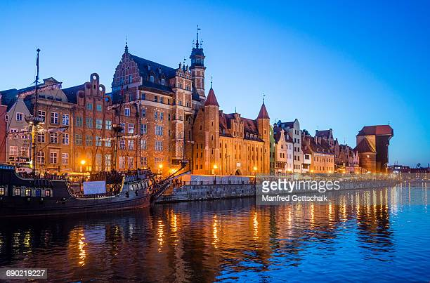 evening view mottlau river waterfront - gdansk stock pictures, royalty-free photos & images