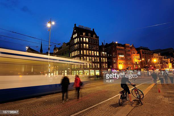 Evening view of Dam Square in Amsterdam