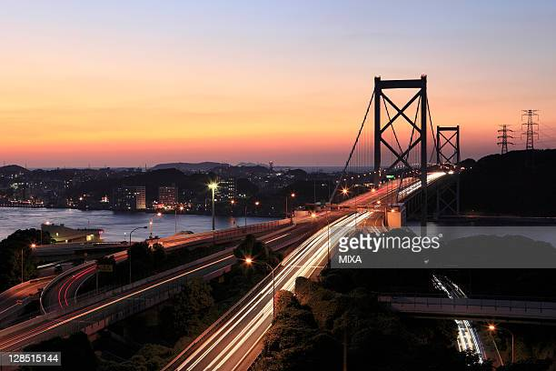 evening view of kanmon bridge and kanmon straits, kitakyushu, fukuoka, japan - 北九州市 ストックフォトと画像