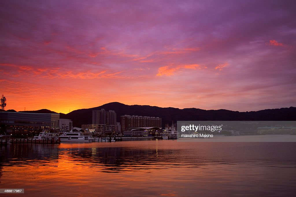 Evening view of Lake Biwa : Stock Photo