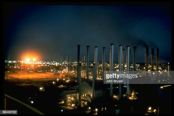 Evening view of oil refinery