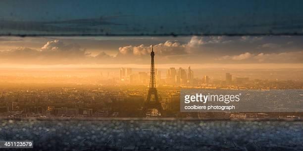 evening view of Paris through windows