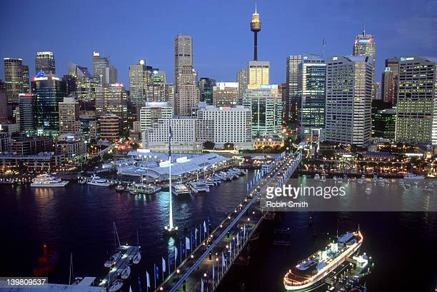 evening view of sydney skyline from darling harbour - area designer label stock pictures, royalty-free photos & images