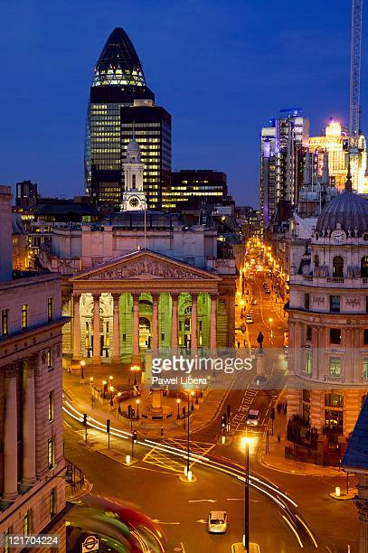 Evening view of the City of London with the Royal Exchange, Swiss Re Tower and Lloyd's Building