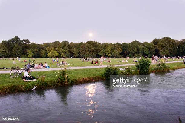 Evening view of the Englischer Garten in Munich, Germany