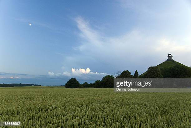 Evening view of the Lion's Mound , an artificial hill on the Waterloo battlefield to commemorate where the Prince of Orange was wounded during the...