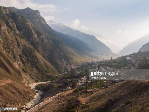 Evening view on Bezengi village in the Caucasus Mountains. Kabardino-Balkar Republic, Russia.