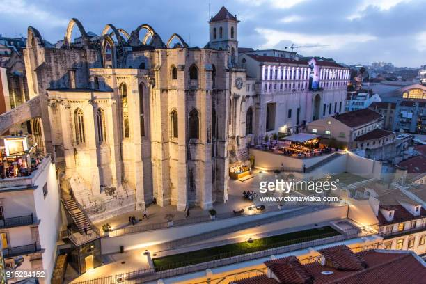Evening view on illuminated Carmo convent and church