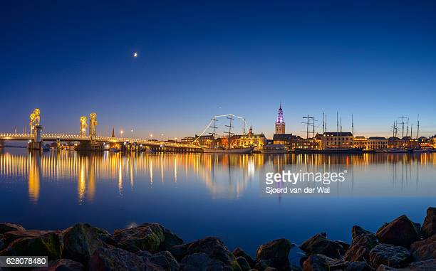 Evening view on the skyline of Kampen Overijssel, The Netherlands