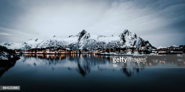 Evening view over the town of Svolvaer in the Lofoten in Norway