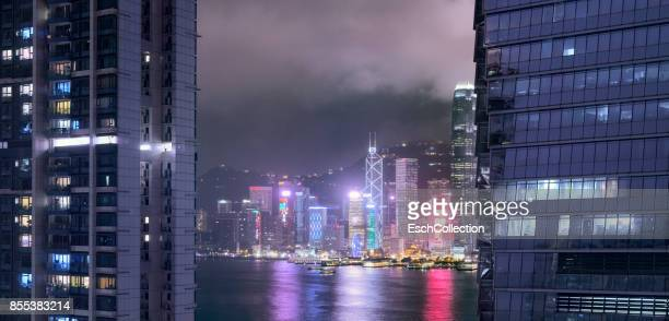 Evening view Victoria Harbour from Kowloon, Hong Kong