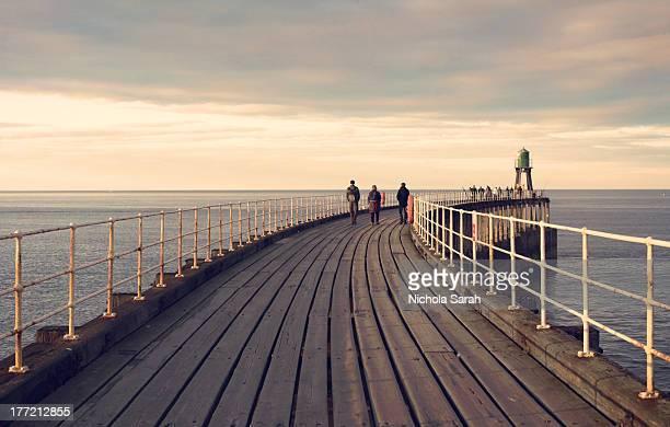 Evening walk along Whitby pier