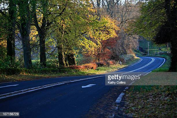 evening winding road through autumn countryside - crieff stock pictures, royalty-free photos & images