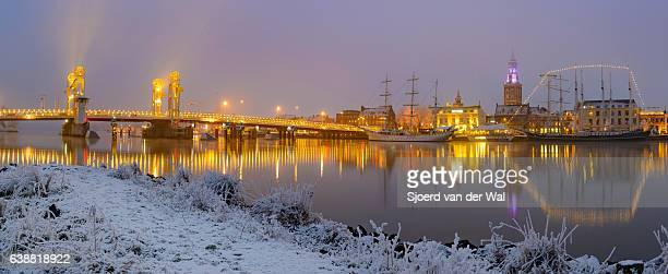 "evening winter view on kampen skyline in the netherlands - ""sjoerd van der wal"" stock pictures, royalty-free photos & images"