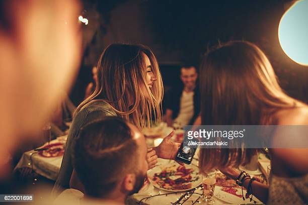 evening with friends in a bistro - group of objects stock photos and pictures