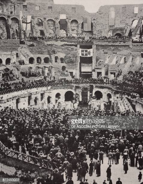 Event at the Coliseum for the anniversary of the United States War entry Rome Italy World War I from l'Illustrazione Italiana Year XLV No 15 April 14...