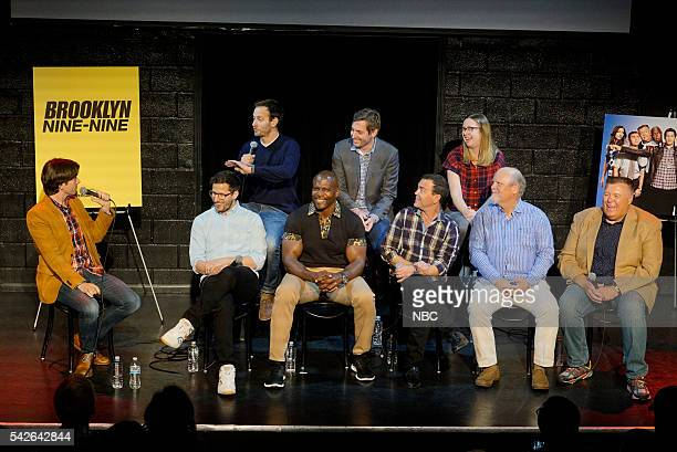 Event at Upright Citizens Brigade Theatre Sunset Los Angeles June 22 2016 Pictured John Mulaney Moderator Andy Samberg Dan Goor Executive Producer...