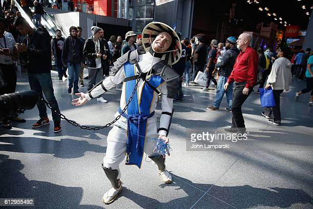 Event attendee dressed in Raiden costume from Mortal Combat attends the 2016 New York Comic Con Day 1 on October 6 2016 in New York City