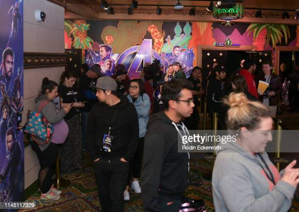 Event attendees enter theatre at the Marvel Studios's Avengers Endgame opening day marathon event at El Capitan Theatre on April 25 2019 in Los...