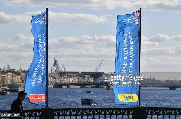 FIFA event banners fly by the river on June 14 2017 in StPetersburg Russia