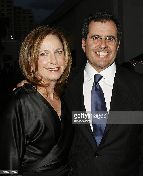 Event chairs Megan Chernin and her husband News Corporation's President and COO and Fox Group's Chairman and CEO Peter Chernin pose at MENTOR LA's...