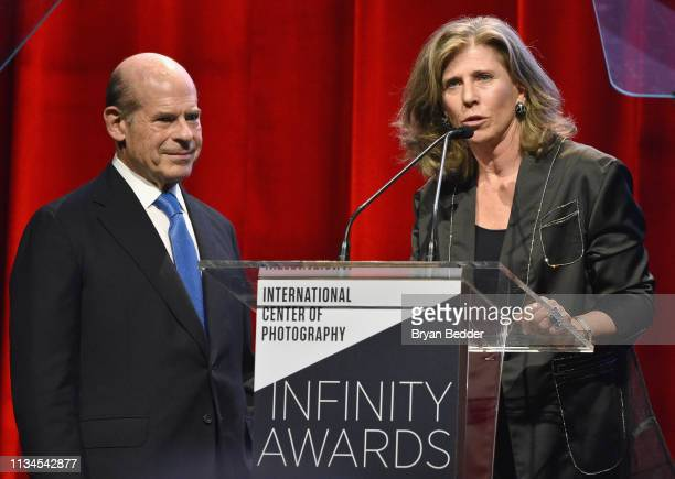 Event CoChair Jeffrey Rosen and ICP Trustee Caryl Englander speak onstage during The International Center Of Photography's 35th Annual Infinity...