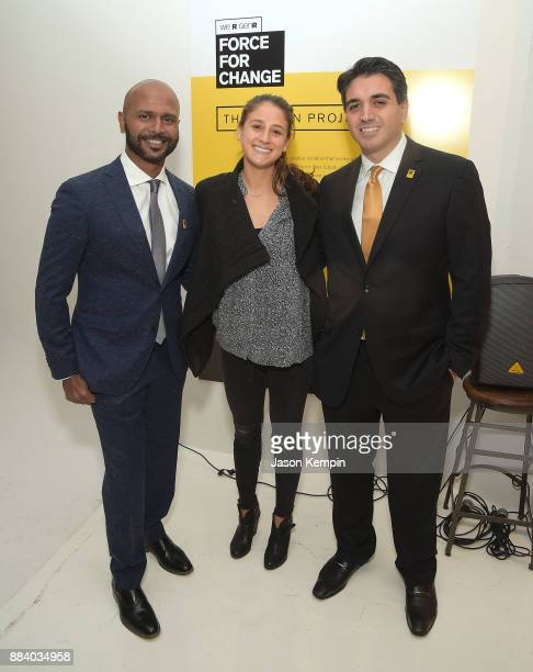Event cochairs Raj Gorla Jacqueline Schoninger and Paul Nouri attend the GenR Force For Change Photo Exhibition at Drift Studios on December 1 2017...